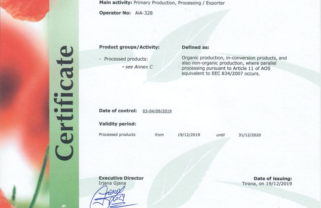 GACP Agro-MAP organic certified